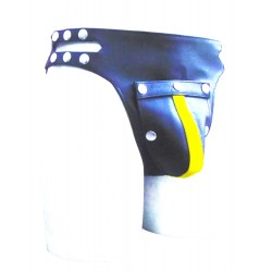 Leather Jockstrap With Side Button & Colour stripe (Custom Made To Order)