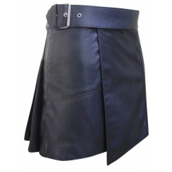 Black - Short Leather Kilt with Buckle - 16 Inches length (custom made to order)