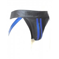 Leather Jockstrap With Blue Stripe & Front Zipper (Custom Made To Order)