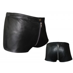 Black Leather Shorts with 2 Zips Front and Back