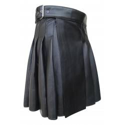 Men's Real Leather Knee length Kilt in Black 19 Inches long (custom Made to Order)