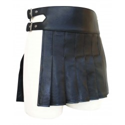 Men's Black Mini Leather Kilt Gladiator Style 12.2 Inches long (Custom Made to Order)