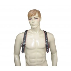 Leather Adjustable Harness with O-Ring and Color Piping