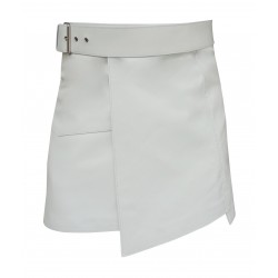 White - Short Leather Kilt with Buckle - 16 Inches length (custom made to order)