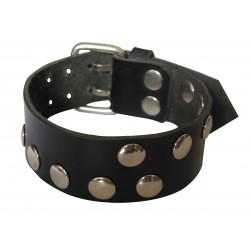 Black Leather Wristband with Rivets & Buckle (Custom made to order)