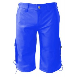 Leather Shorts With Six Pockets - Blue (Custom Made To Order) Plus Sizes Welcome