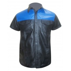 Leather Shirt in Two Front Pockets and Two Tone Colours (Custom Made To Order)