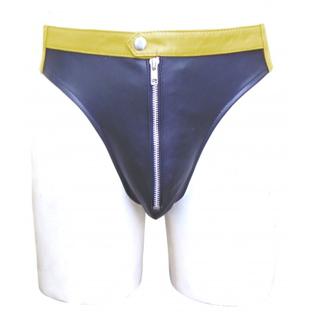 Black Leather Jocks Strap With Yellow Waistband (Custom Made to Order)