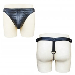 Leather Jockstrap With Show Stitching on front and Chain on Back (Custom Made To Order)